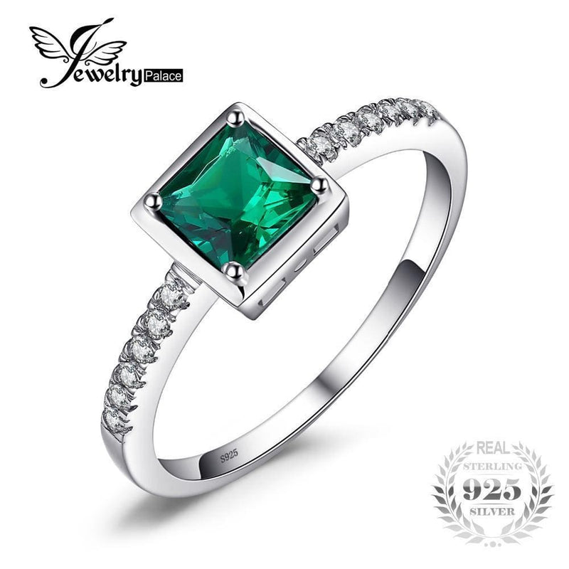 Women 925 Sterling Silver Solitaire Emerald Ring-6-JadeMoghul Inc.