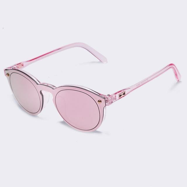 Women All Acrylic/ Plastic Frame Round Sunglasses With 100% UV Protection-C03Pink-China-JadeMoghul Inc.
