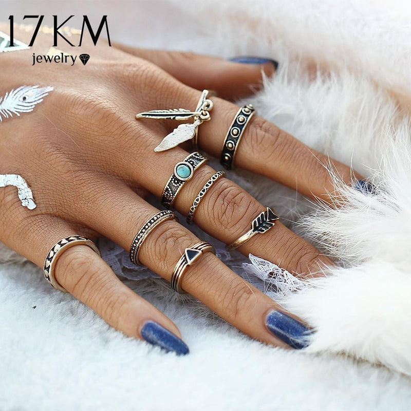 Women Antique Silver Plated 8 Pcs Feather Ring Set--JadeMoghul Inc.