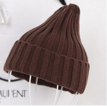Women Basic Winters Acrylic Knit Hat In Solid Colors-Coffee-JadeMoghul Inc.