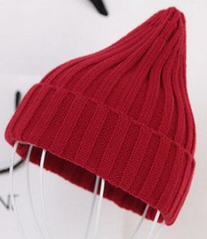 Women Basic Winters Acrylic Knit Hat In Solid Colors-Dark Red-JadeMoghul Inc.
