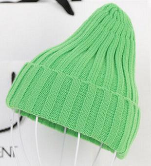 Women Basic Winters Acrylic Knit Hat In Solid Colors-Green-JadeMoghul Inc.