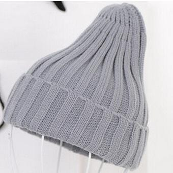 Women Basic Winters Acrylic Knit Hat In Solid Colors-Grey-JadeMoghul Inc.