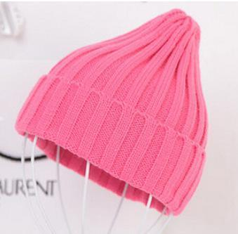 Women Basic Winters Acrylic Knit Hat In Solid Colors-Hot Pink-JadeMoghul Inc.