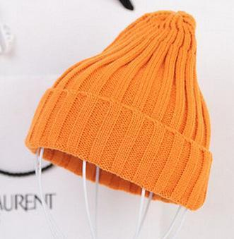 Women Basic Winters Acrylic Knit Hat In Solid Colors-Orange-JadeMoghul Inc.
