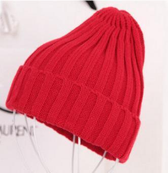 Women Basic Winters Acrylic Knit Hat In Solid Colors-Red-JadeMoghul Inc.
