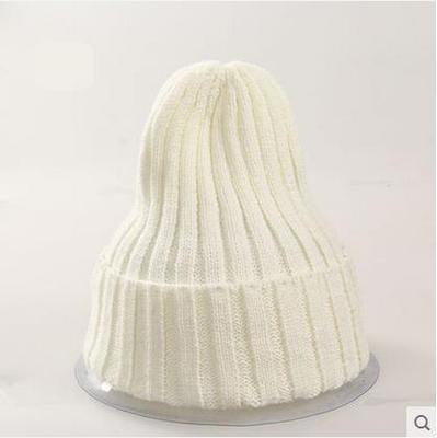 Women Basic Winters Acrylic Knit Hat In Solid Colors-White-JadeMoghul Inc.