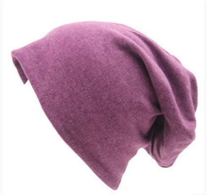 Women Basic Wool Blend Slouch Beanie/ Hat In Solid Colors-M028 Violet White-JadeMoghul Inc.