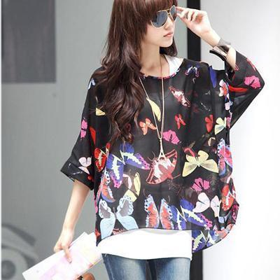 Women Batwing Sleeves Printed chiffon Shirt Top-picture color 1-4XL-JadeMoghul Inc.