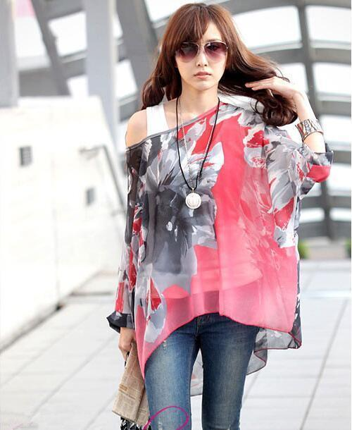Women Batwing Sleeves Printed chiffon Shirt Top-picture color 13-4XL-JadeMoghul Inc.