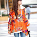 Women Batwing Sleeves Printed chiffon Shirt Top-picture color 14-4XL-JadeMoghul Inc.