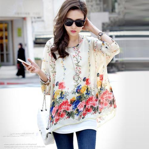 Women Batwing Sleeves Printed chiffon Shirt Top-picture color 15-4XL-JadeMoghul Inc.