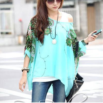 Women Batwing Sleeves Printed chiffon Shirt Top-picture color 16-4XL-JadeMoghul Inc.