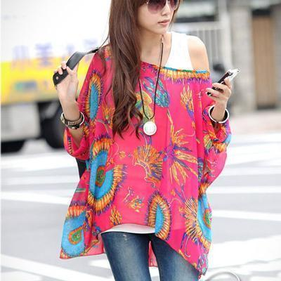 Women Batwing Sleeves Printed chiffon Shirt Top-picture color 17-4XL-JadeMoghul Inc.