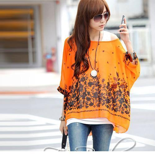Women Batwing Sleeves Printed chiffon Shirt Top-picture color 18-4XL-JadeMoghul Inc.