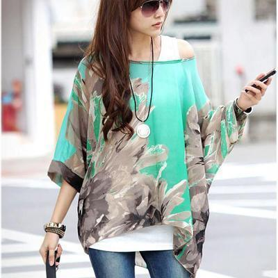Women Batwing Sleeves Printed chiffon Shirt Top-picture color 19-4XL-JadeMoghul Inc.
