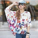 Women Batwing Sleeves Printed chiffon Shirt Top-picture color 20-4XL-JadeMoghul Inc.
