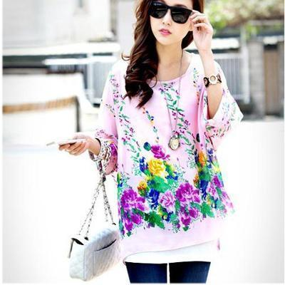 Women Batwing Sleeves Printed chiffon Shirt Top-picture color 21-4XL-JadeMoghul Inc.