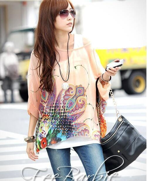 Women Batwing Sleeves Printed chiffon Shirt Top-picture color 3-4XL-JadeMoghul Inc.