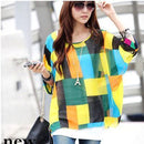 Women Batwing Sleeves Printed chiffon Shirt Top-picture color 4-4XL-JadeMoghul Inc.