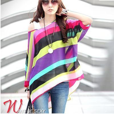 Women Batwing Sleeves Printed chiffon Shirt Top-picture color-4XL-JadeMoghul Inc.