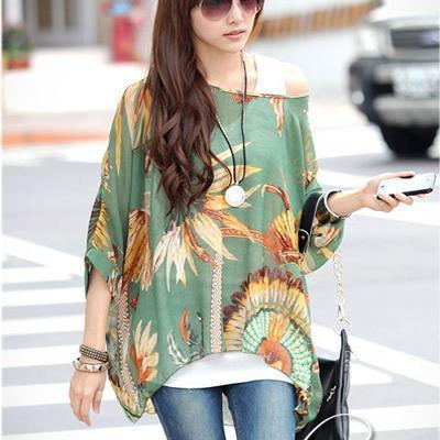 Women Batwing Sleeves Printed chiffon Shirt Top-picture color 6-4XL-JadeMoghul Inc.