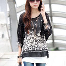 Women Batwing Sleeves Printed chiffon Shirt Top-picture color 7-4XL-JadeMoghul Inc.