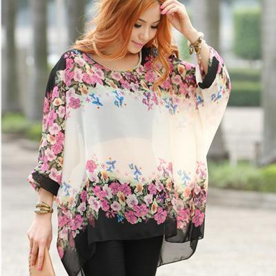 Women Batwing Sleeves Printed chiffon Shirt Top-picture color 8-4XL-JadeMoghul Inc.