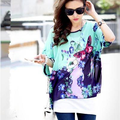 Women Batwing Sleeves Printed chiffon Shirt Top-picture color 9-4XL-JadeMoghul Inc.