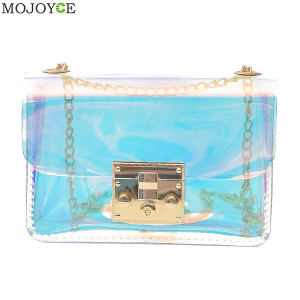 Women Beach Jelly Transparent Cross Body Bag With Metal Chain Strap--JadeMoghul Inc.