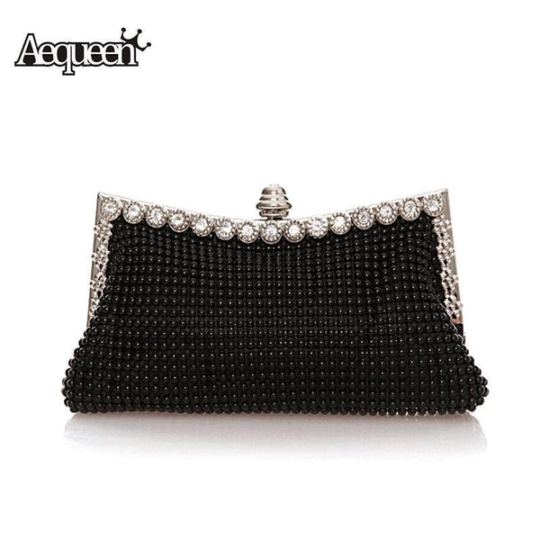 Women Beaded Evening Bag With Metal rhinestone Detailing-Black-JadeMoghul Inc.