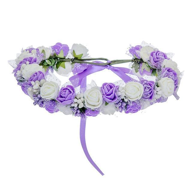 Women Bezel Flowers on Head AWAYTR Girls Flower Crown Wreath Wedding Bridal Hair Accessories Double Foam Rose Floral Headband-Purple-JadeMoghul Inc.