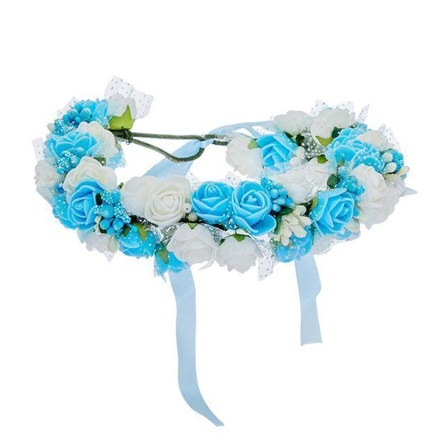 Women Bezel Flowers on Head AWAYTR Girls Flower Crown Wreath Wedding Bridal Hair Accessories Double Foam Rose Floral Headband-Sky Blue-JadeMoghul Inc.