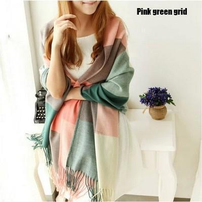 Women Bold Plaid Pashmina Scarf/Wrap With Tassel Fringe Detailing-CG Pink green grid-JadeMoghul Inc.