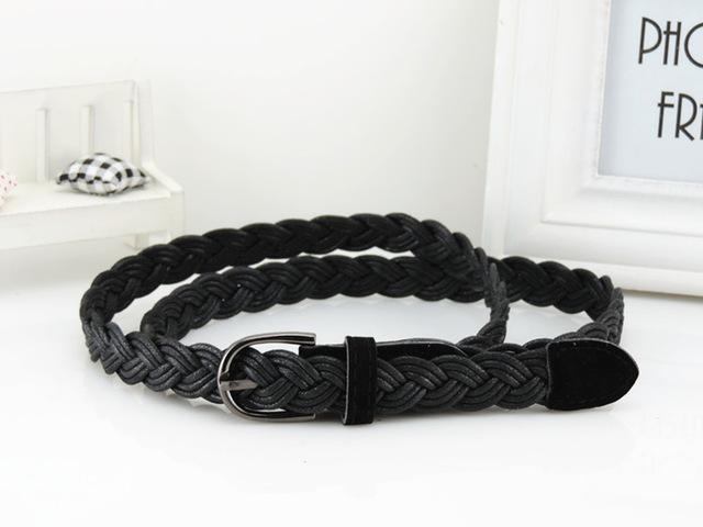 Women Braided Design Leather Belt In Candy Colors-black-105cm-JadeMoghul Inc.
