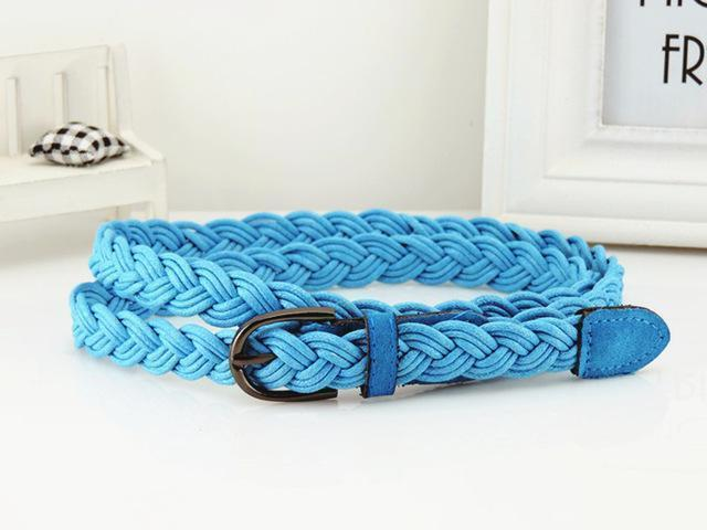 Women Braided Design Leather Belt In Candy Colors-blue-105cm-JadeMoghul Inc.