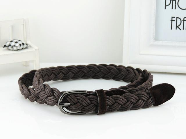 Women Braided Design Leather Belt In Candy Colors-brown-105cm-JadeMoghul Inc.