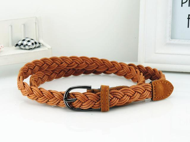 Women Braided Design Leather Belt In Candy Colors-camel-105cm-JadeMoghul Inc.