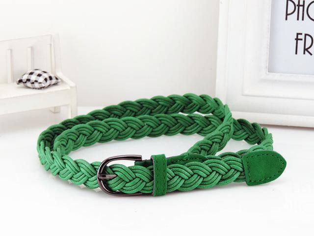 Women Braided Design Leather Belt In Candy Colors-green-105cm-JadeMoghul Inc.