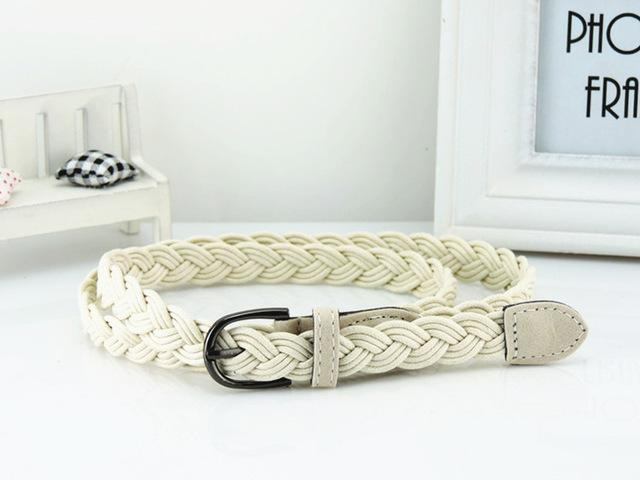 Women Braided Design Leather Belt In Candy Colors-white-105cm-JadeMoghul Inc.