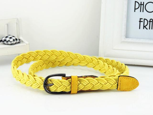 Women Braided Design Leather Belt In Candy Colors-yellow-105cm-JadeMoghul Inc.
