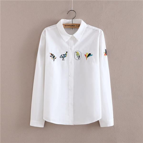 Women Button Down Cotton Shirt Top With Embroidery and Lace Detailing-Bird-S-JadeMoghul Inc.