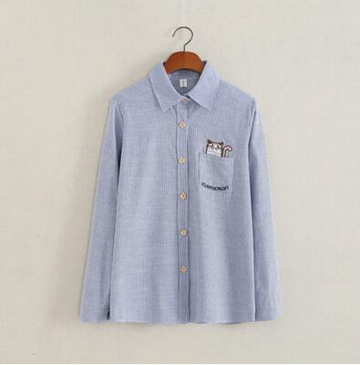 Women Button Down Cotton Shirt Top With Embroidery and Lace Detailing-blue stripe cat-XL-JadeMoghul Inc.