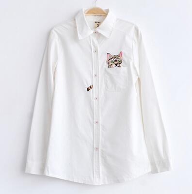 Women Button Down Cotton Shirt Top With Embroidery and Lace Detailing-Cat 001-S-JadeMoghul Inc.