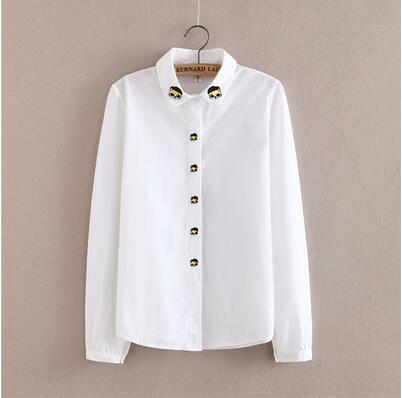 Women Button Down Cotton Shirt Top With Embroidery and Lace Detailing-Cat design-S-JadeMoghul Inc.
