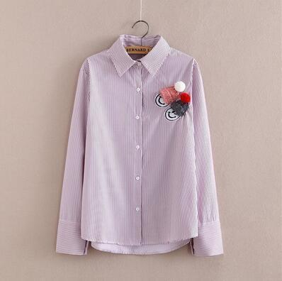 Women Button Down Cotton Shirt Top With Embroidery and Lace Detailing-Pink Roll-S-JadeMoghul Inc.
