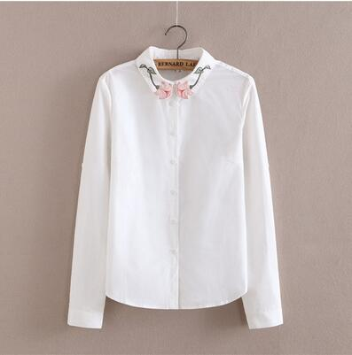 Women Button Down Cotton Shirt Top With Embroidery and Lace Detailing-Rose-S-JadeMoghul Inc.