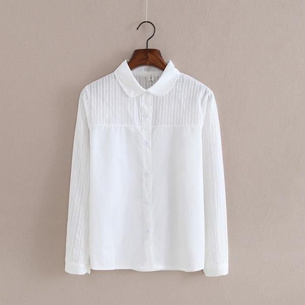 Women Button Down Cotton Shirt Top With Embroidery and Lace Detailing-white 003-S-JadeMoghul Inc.