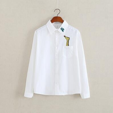 Women Button Down Cotton Shirt Top With Embroidery and Lace Detailing-white 004-S-JadeMoghul Inc.