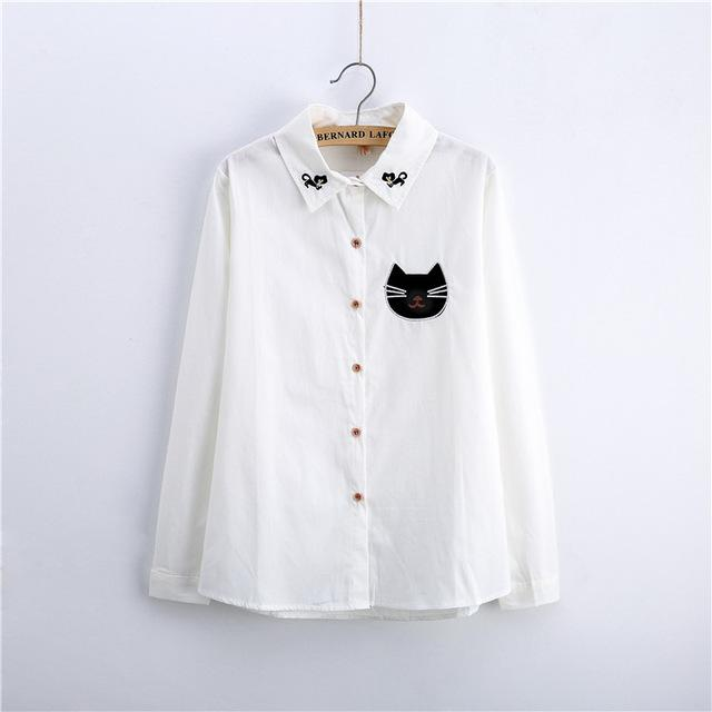 Women Button Down Cotton Shirt Top With Embroidery and Lace Detailing-white 008-XL-JadeMoghul Inc.